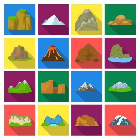 Rock, peak, volcano, and other kinds of mountains. Different mountains set collection icons in flat style vector symbol stock illustration web. 向量圖像