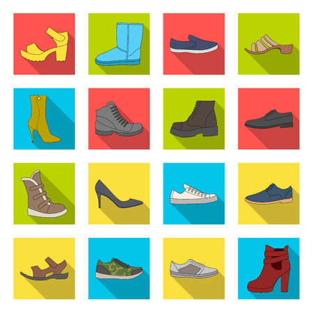 Shoes, style, heel and other types of shoes. Different shoes set collection icons in flat style vector symbol stock illustration web. Çizim