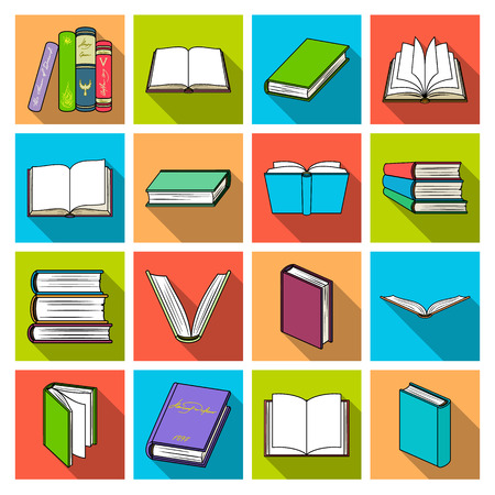 magazine design: Books set icons in flat style. Big collection of books vector symbol stock illustration