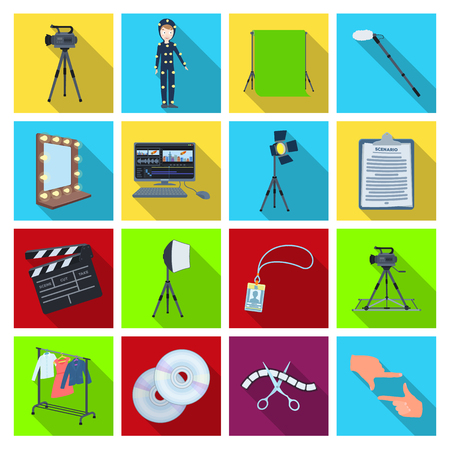 hangers: A movie camera, a floodlight, a chromakey and other equipment for the cinema.Making movie set collection icons in flat style vector symbol stock illustration web.