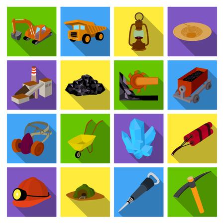 Excavator, jackhammer, helmet and other items for the mine. Mine set collection icons in flat style vector symbol stock illustration web. Vektoros illusztráció