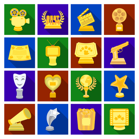 theatre masks: Camera, shout, Globe, objects for rewarding films.Movie Awards set collection icons in flat style vector symbol stock illustration web.