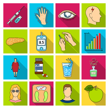 glucometer: Insulin, sugar, level, analysis, diet and other attributes. Diabetes set collection icons in flat style vector symbol stock illustration web.