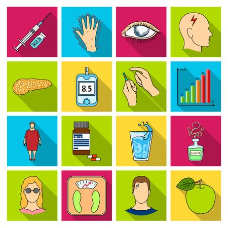 Insulina, cukier, poziom, analiza, dieta i inne atrybuty. Cukrzyca zestaw ikon kolekcji w płaskim stylu symbolu wektor czas stock photography Ilustracje wektorowe