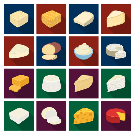 チーズの種類。チーズの種類は、フラット スタイル ベクトル シンボル ストック イラスト web コレクションのアイコンを設定します。 写真素材 - 81946040