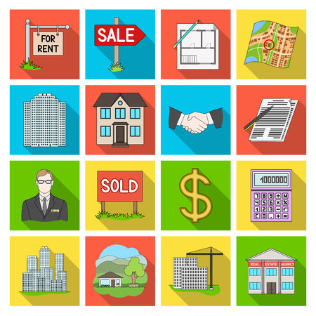 stock agency: Real estate agency and other attributes. Realtor set collection icons in flat style vector symbol stock illustration web. Illustration