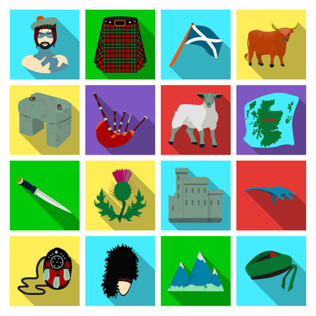 Kilt, bagpipes, thistles are national subjects of Scotland. Scotland set collection icons in flat style vector symbol stock illustration web. Çizim