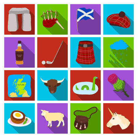 heather: Scotland country set icons in flat style. Big collection of Scotland country vector symbol stock illustration Illustration
