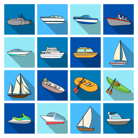 Yacht, boat, liner, types of ship and water transport. Ship and water transport set collection icons in flat style vector symbol stock illustration web. Ilustração