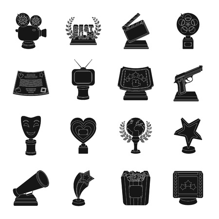 Camera, shout, Globe, objects for rewarding films.Movie Awards set collection icons in black style vector symbol stock illustration web.