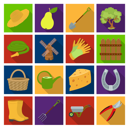Mill, gloves, fence and other farm equipment. Farm and gardening set collection icons in flat style vector symbol stock illustration web. Illustration