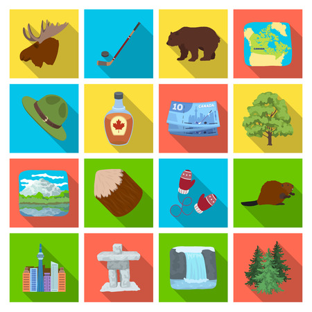 tree logo: Wild animal, deer, horns and other Canada elements. Canada set collection icons in flat style vector symbol stock illustration web.