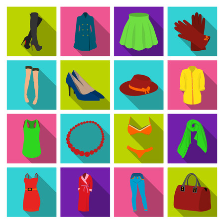 Dress, bra, shoes, womens clothing. Womens clothing set collection icons in flat style vector symbol stock illustration web. Stock Photo
