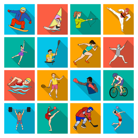 Hockey, tennis, boxing sports included in the Olympic Games. Olympic sport set collection icons in flat style vector symbol stock illustration web. Stock Photo