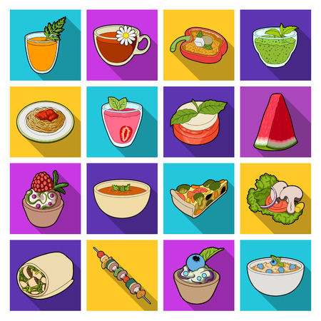 broth: Juice, pizza, berries are vegetarian dishes.Vegetarian Dishes set collection icons in flat style vector symbol stock illustration web.