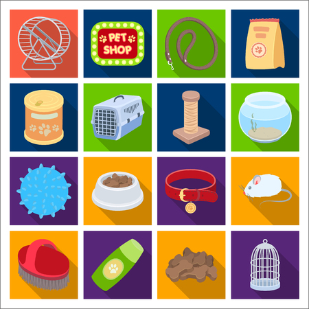 carding: Collar, pet food and other products. Pet shop set collection icons in flat style vector symbol stock illustration web. Stock Photo