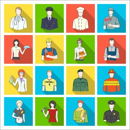 fireman: Doctor, worker, military, artist and other types of profession.Profession set collection icons in flat style vector symbol stock illustration web. Stock Photo