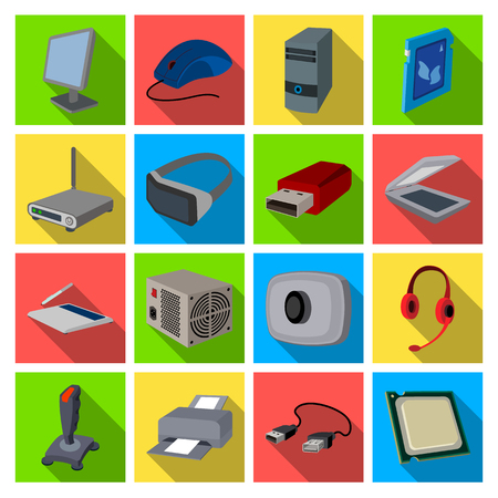 Personal computer accessories set icons in flat style. Big collection of personal computer accessories vector symbol stock illustration