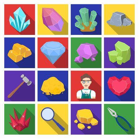 Kostbare mineralen en juwelier stel pictogrammen in vlakke stijl. Grote inzameling van kostbare mineralen en de voorraadillustratie van het juwelier vectorsymbool Stockfoto
