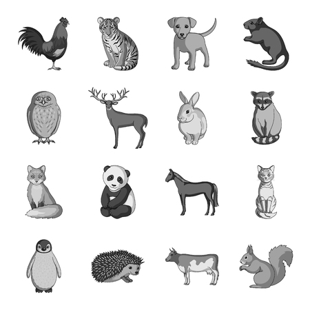Deer, tiger, cow, cat, rooster, owl and other animal species.Animals set collection icons in monochrome style vector symbol stock illustration web. Illustration