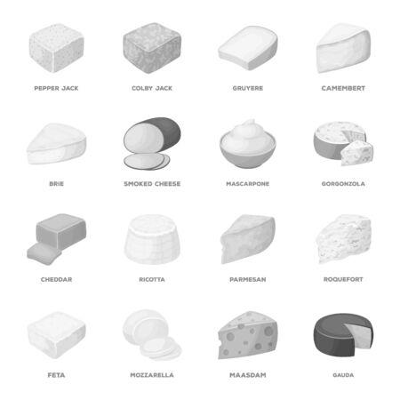 チーズの種類。チーズの種類は、モノクロ スタイル ベクトル シンボル ストック イラスト web コレクションのアイコンを設定します。 写真素材 - 81946133