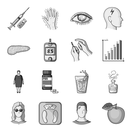 excess: Insulin, sugar, level, analysis, diet and other attributes. Diabetes set collection icons in monochrome style vector symbol stock illustration web.