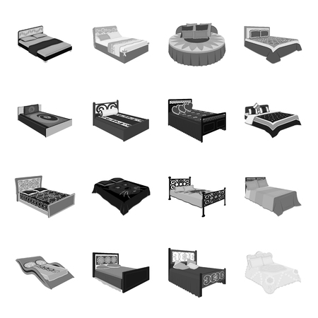 A bed with a back, round, curved and other kinds of the goods. Beds set collection icons in monochrome style vector symbol stock illustration web.
