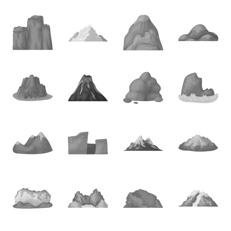 Rock, peak, volcano, and other kinds of mountains. Different mountains set collection icons in monochrome style vector symbol stock illustration web. Illusztráció