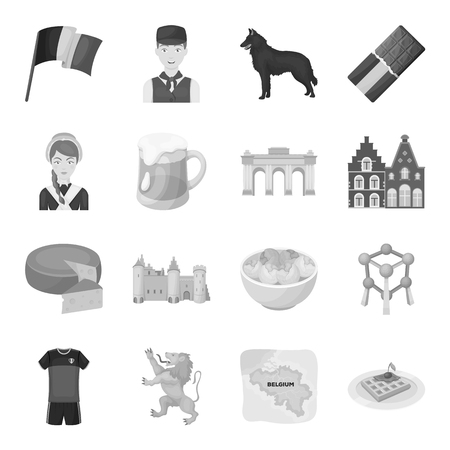 National, flag, clothing and other Belgium attributes .Belgium set collection icons in monochrome style vector symbol stock illustration web.