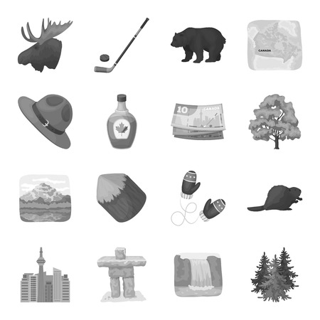 handgrip: Wild animal, deer, horns and other Canada elements. Canada set collection icons in monochrome style vector symbol stock illustration web.