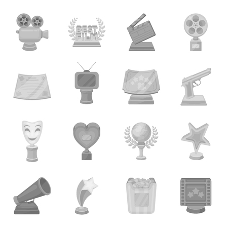 Ice ax, conquered top, mountains in the clouds and other equipment for mountaineering.Mountaineering set collection icons in monochrome style vector symbol stock illustration web. Ilustrace
