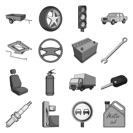 motor car candles: Wheel, wrench, jack and other equipment. Car set collection icons in monochrome style vector symbol stock illustration web.
