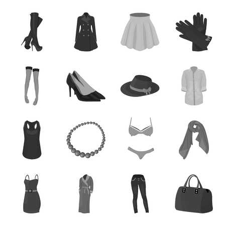 Dress, bra, shoes, womens clothing. Womens clothing set collection icons in monochrome style vector symbol stock illustration web.