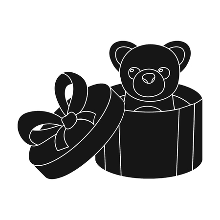 A toy in a gift box. E-commerce single icon in black style vector symbol stock illustration web.