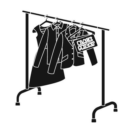 hangers: Sale of things in the store, Black Friday. E-commerce single icon in black style vector symbol stock illustration web.