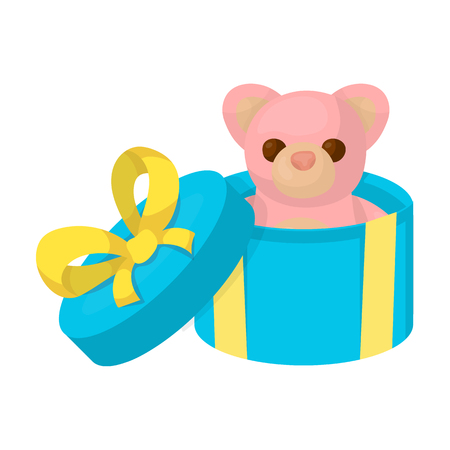 A toy in a gift box. E-commerce single icon in cartoon style vector symbol stock illustration .