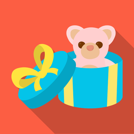 A toy in a gift box. E-commerce single icon in flat style vector symbol stock illustration web.