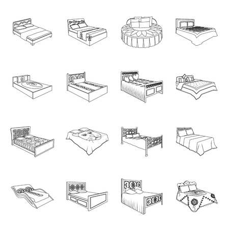 A bed with a back, round, curved and other kinds of the goods. Beds set collection icons in line style vector symbol stock illustration web. Illusztráció