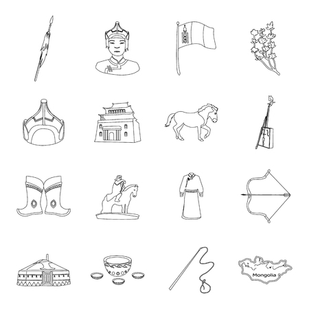 Excavator, jackhammer, helmet and other items for the mine. Mine set collection icons in line style vector symbol stock illustration .
