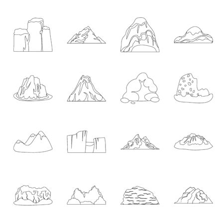 Rock, peak, volcano, and other kinds of mountains icon set