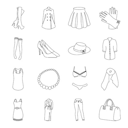 rhubarb: Dress, bra, shoes, womens clothing. Womens clothing set collection icons in line style vector symbol stock illustration .