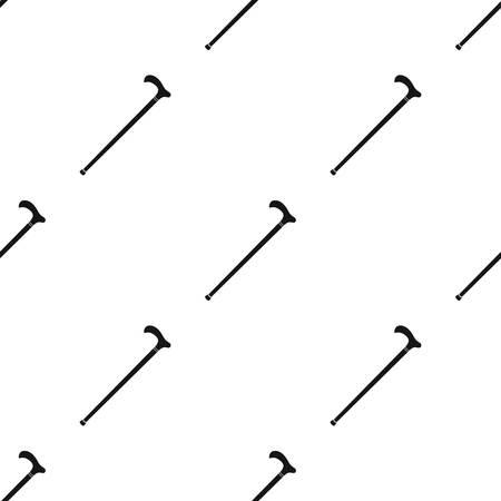 Cane voor wandelen. Oude leeftijd één pictogram in zwarte stijl vector symbool stock web.