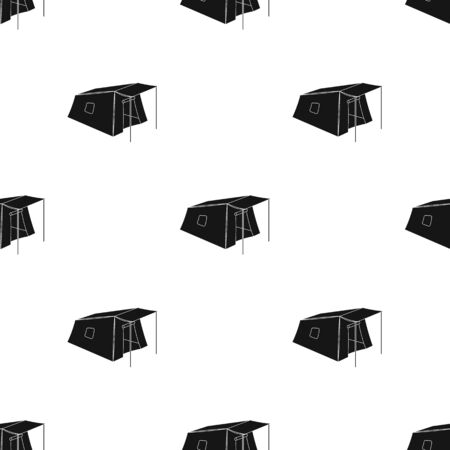 Tent with awning.Tent single icon in black style vector symbol stock illustration web.