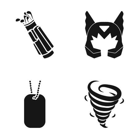 Golf clubs, Mask and other  icon in black style. badge, tornado icons in set collection.