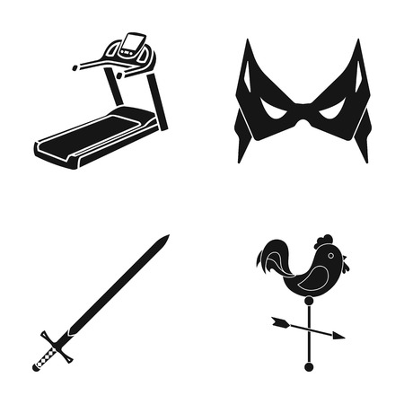 weathervane: Treadmill, mass and other web icon in black style. sword, weathercock icons in set collection. Illustration