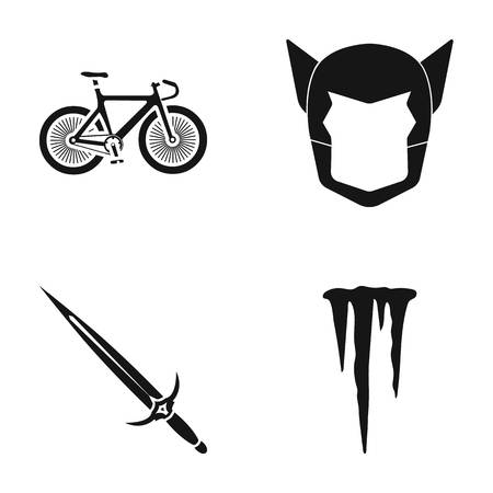 Bicycle, mask and other web icon in black style. sword, icicle icons in set collection. Illustration