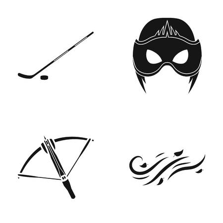Stick with washer, mask and other web icon in black style. crossbow, wind direction icons in set collection.