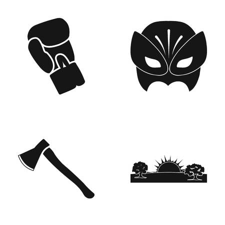 tree logo: Boxing Glove, Mask and other web icon in black style. Ax, Sunrise icons in set collection.