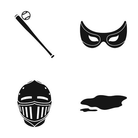 Baseball bat, mask knights and other web icon in black style. helmet, dirty spot icons in set collection.