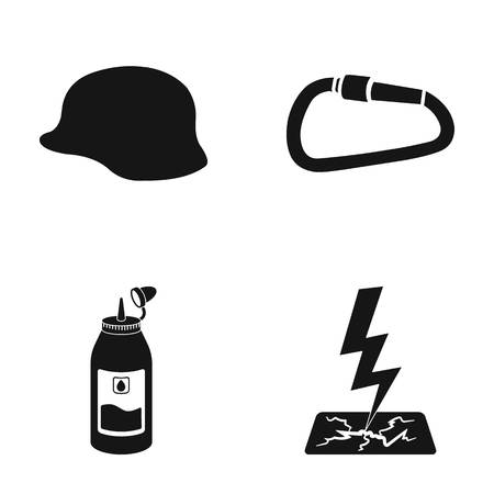 Helmet, carbine and other web icon in black style.grease, lightning icons in set collection. Illustration